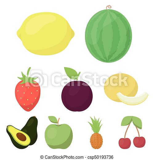 Fruits set icons in cartoon style. Big collection of fruits vector symbol stock illustration - csp50193736