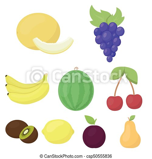 Fruits set icons in cartoon style. Big collection of fruits vector symbol stock illustration - csp50555836