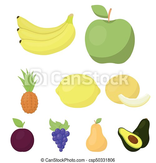 Fruits set icons in cartoon style. Big collection of fruits vector symbol stock illustration - csp50331806