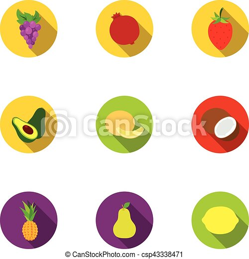 Fruits set icons in flat style. Big collection of fruits vector symbol stock illustration - csp43338471
