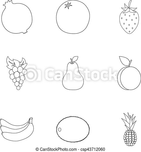 Fruits set icons in outline style. Big collection of fruits vector symbol stock illustration - csp43712060