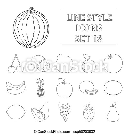 Fruits set icons in outline style. Big collection of fruits vector symbol stock illustration - csp50203832