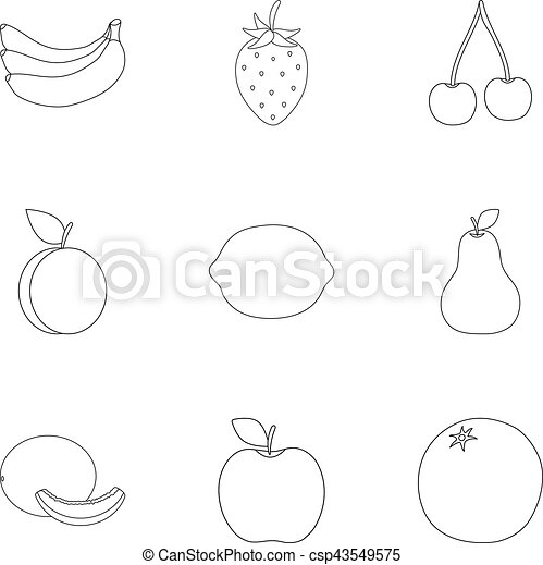 Fruits set icons in outline style. Big collection of fruits vector symbol stock illustration - csp43549575