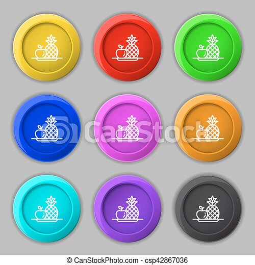 fruits set with pineapple apple icon sign. symbol on nine round colourful buttons. Vector - csp42867036
