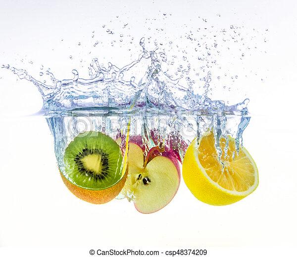 fruits splashing in water - csp48374209