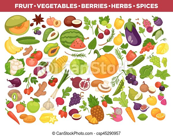 Fruits, vegetables, berries and spices vector icons set - csp45290957