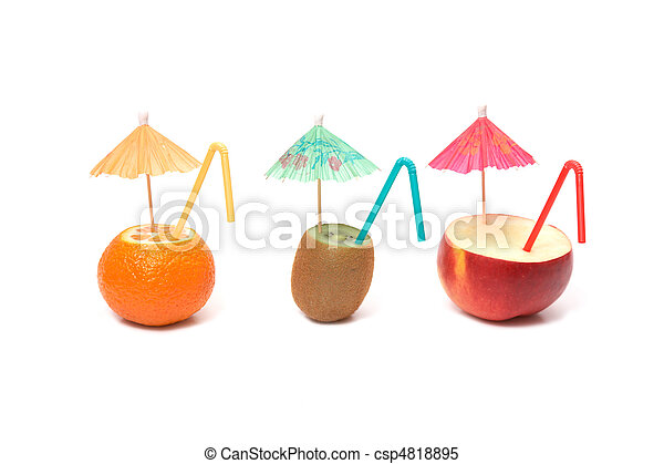fruits with umbrellas - csp4818895