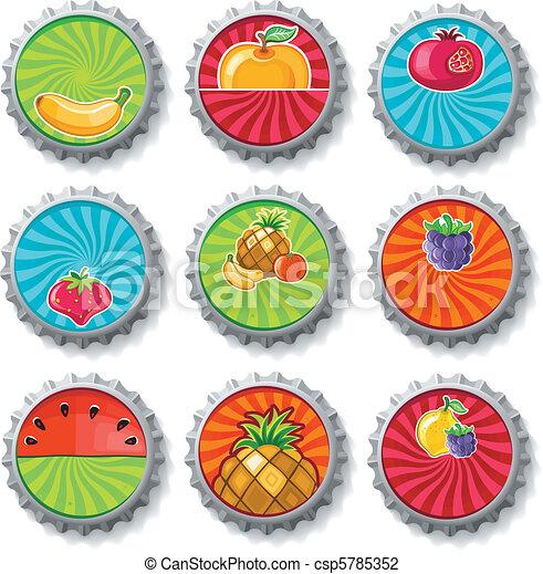 Fruity bottle caps - vector set  - csp5785352