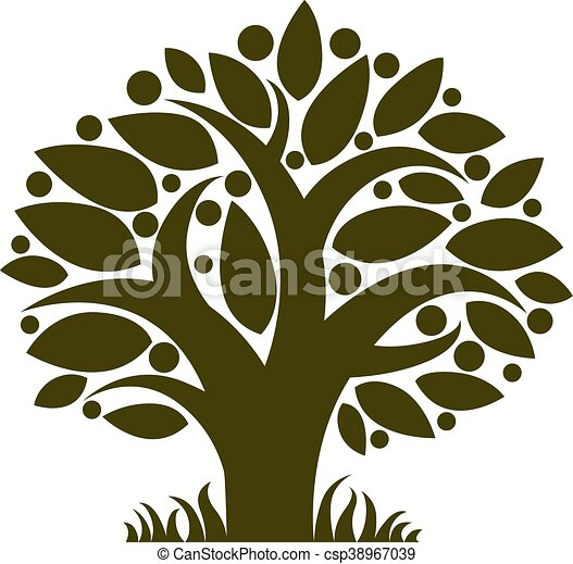 Fruity tree with ripe apples isolated on white. Organic and eco food idea vector image. - csp38967039