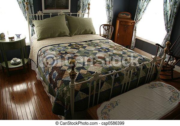 frukost rum, säng, & - csp0586399