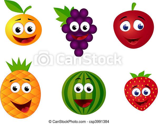 frukt, tecknad film - csp3991384