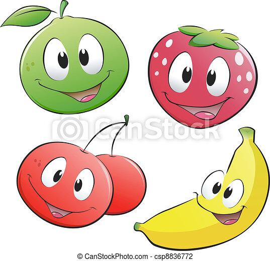 frukt, tecknad film - csp8836772
