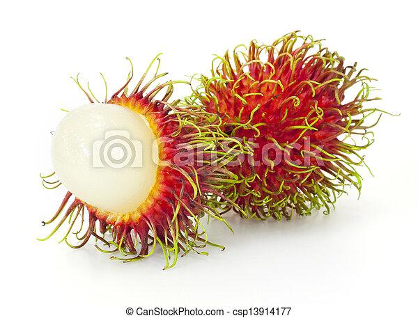 frukt, tropisk, vit, rambutan, bakgrund - csp13914177
