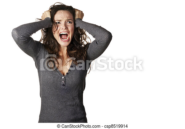 Frustrated and angry woman screaming - csp8519914