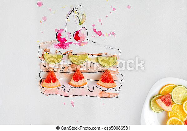 Fruta, acuarela, cerezas, fresco, pastel, dibujado, pedazo. Placa ...