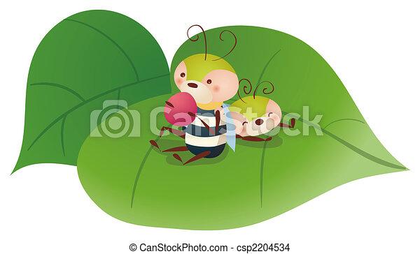 fruta, comida, caricatura, abeja - csp2204534