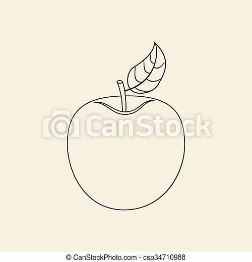 icono de fruta de manzana - csp34710988