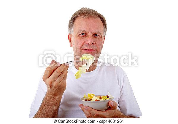 fruta, salat, homem - csp14681261