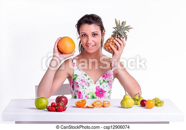 fruta, uva, piña - csp12906074