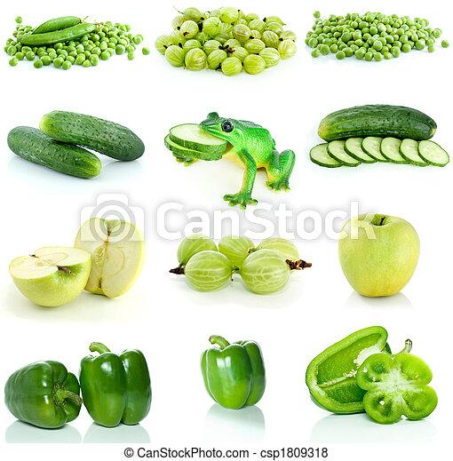 fruta, vegetales, conjunto, verde, bayas - csp1809318