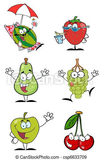 frutas, caricatura, engraçado, personagem - csp6633709