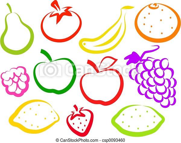frutta, icone - csp0093460
