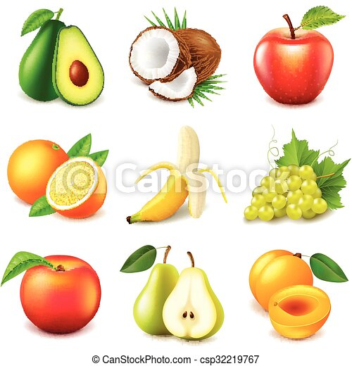frutte, vettore, set, icone - csp32219767