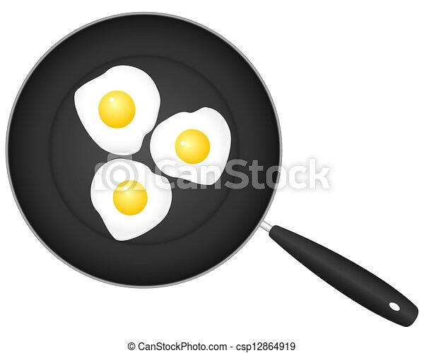 frying pan and egg - csp12864919