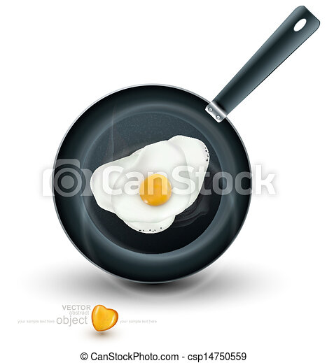 frying pan with eggs isolated - csp14750559