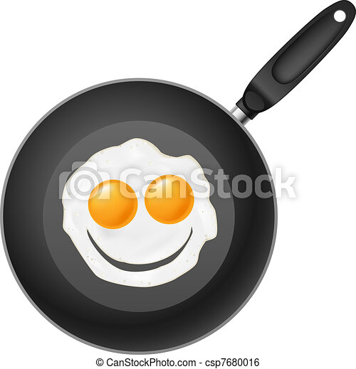 Frying pan with smile egg - csp7680016