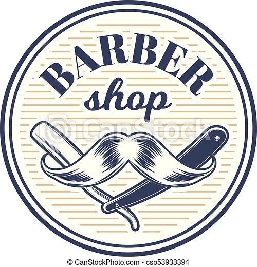 fryzura, fryzura, barbershop, fryzjer, szablon, logo - csp53933394