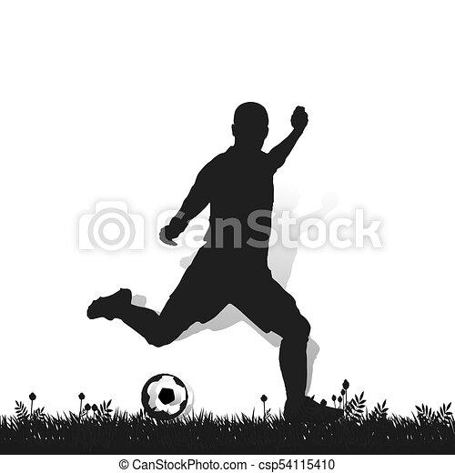Fussball Ball Silhouette Spieler Durchschlag Hintergrund