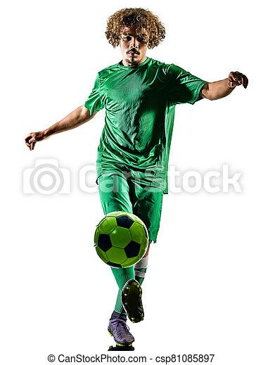 fußball, freigestellt, junger, spieler, mann, teenager, silhouette - csp81085897
