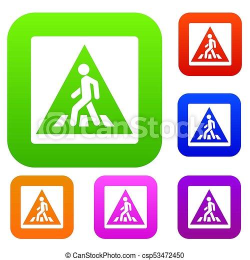 Pedestrian Road Schildset Sammlung - csp53472450
