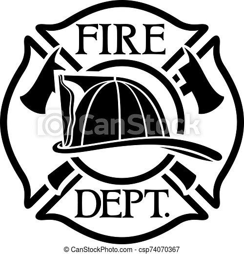 fuego, cruz, departamento, maltés, bomberos, o, símbolo - csp74070367