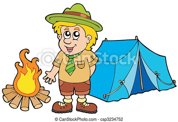 Explorador con carpa y fuego - csp3234752