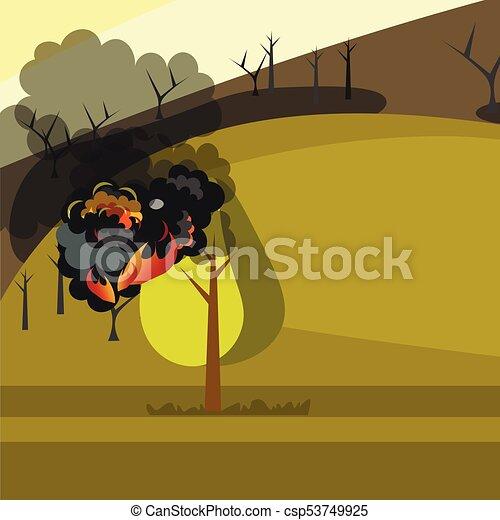 Quemando árboles forestales en llamas. - csp53749925