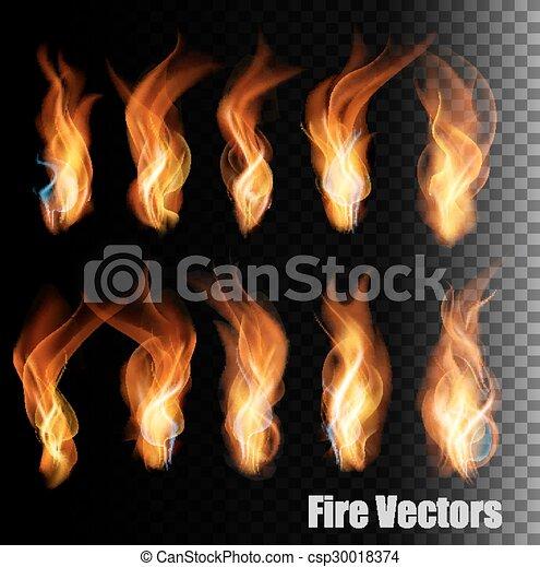 Vectores de fuego de fondo transparente. - csp30018374