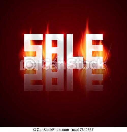 Título vector de venta en llamas, fuego - csp17642687