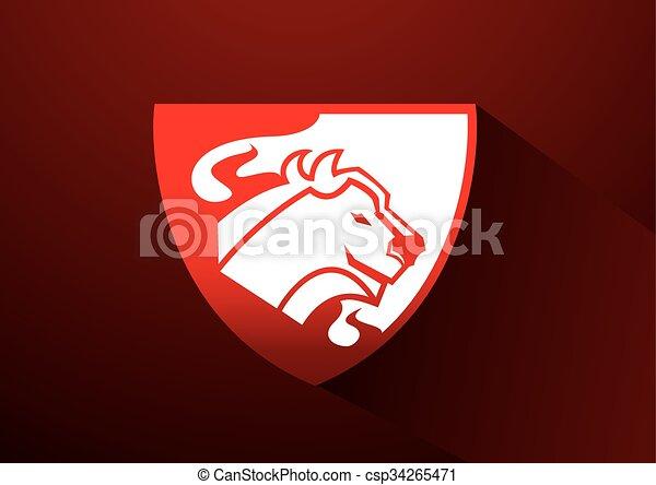 Logo de vaca con símbolo de fuego - csp34265471