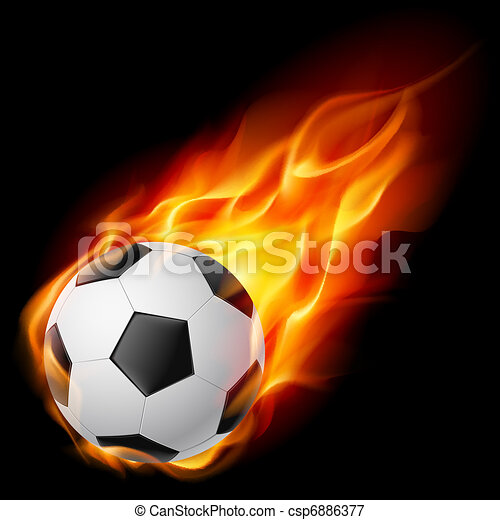 Una pelota de fútbol en llamas - csp6886377