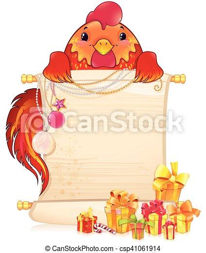 Un gallo rojo con pergamino y adorno de Navidad. - csp41061914