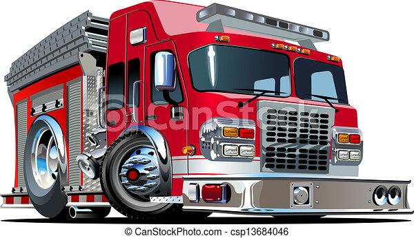 Un camión de bomberos de dibujos animados - csp13684046