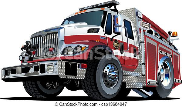 Un camión de bomberos de dibujos animados - csp13684047