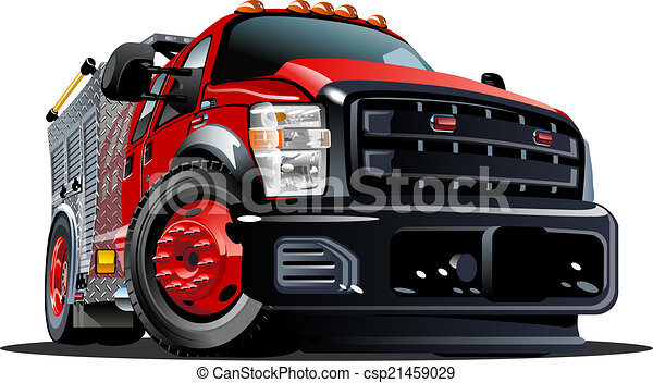 Un camión de bomberos de dibujos animados - csp21459029