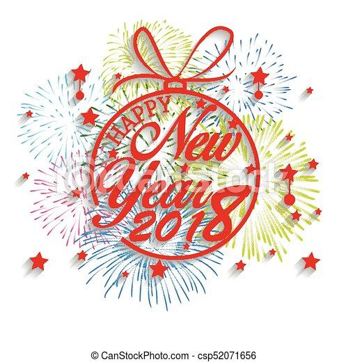 Feliz año nuevo 2018 con antecedentes de fuegos artificiales - csp52071656