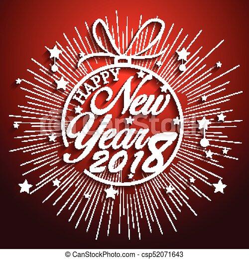 Feliz año nuevo 2018 con antecedentes de fuegos artificiales - csp52071643