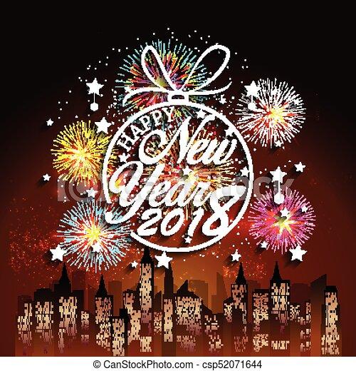 Feliz año nuevo 2018 con antecedentes de fuegos artificiales - csp52071644