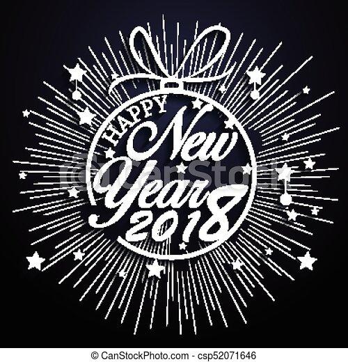 Feliz año nuevo 2018 con antecedentes de fuegos artificiales - csp52071646