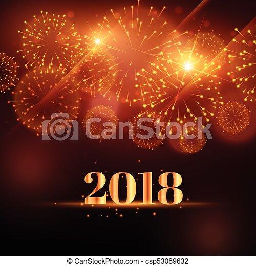 Feliz año nuevo de fondo de fuegos artificiales para 2018 - csp53089632